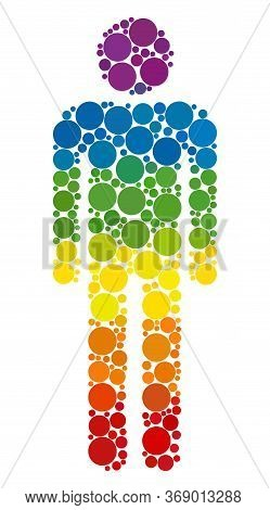 Man Figure Composition Icon Of Circle Spots In Variable Sizes And Rainbow Bright Color Tones. A Dott