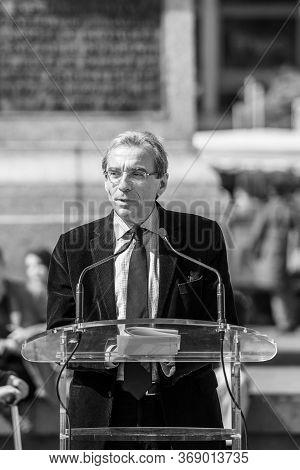 Strasbourg, France - Apr 12, 2014: Black And White Image Of Mayor Of Strasbourg, Roland Ries Deliver