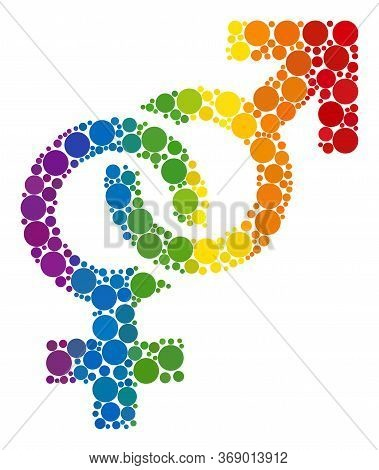 Straight Sex Symbol Composition Icon Of Round Items In Various Sizes And Spectrum Bright Color Tones