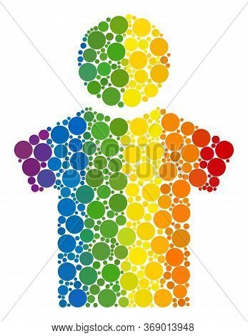 Boy Mosaic Icon Of Circle Elements In Different Sizes And Spectrum Colored Color Tints. A Dotted Lgb