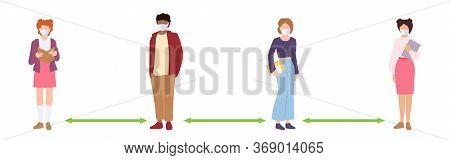 People Keep Social Distance. Student Keeping Distance, Infection Risk And Disease. Protective Medica