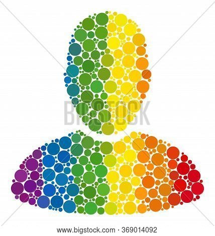 User Collage Icon Of Round Dots In Various Sizes And Rainbow Colorful Color Tinges. A Dotted Lgbt-co