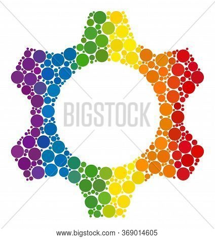 Cog Mosaic Icon Of Round Dots In Various Sizes And Rainbow Bright Color Hues. A Dotted Lgbt-colored