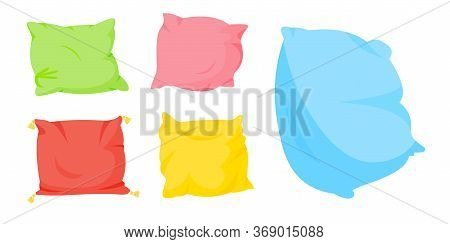 Colored Pillow Flat Cartoon Set. Home Interior Textile. Five Soft Color Pillows, With Tassels For Be