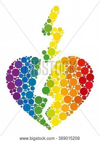 Break Love Heart Mosaic Icon Of Circle Elements In Variable Sizes And Spectrum Color Tints. A Dotted