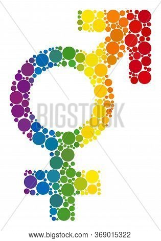 Sex Symbol Composition Icon Of Circle Spots In Variable Sizes And Rainbow Multicolored Color Hues. A