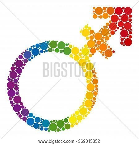 Alternate Gender Symbol Mosaic Icon Of Circle Spots In Various Sizes And Spectrum Colored Color Hues