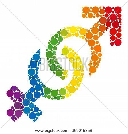 Gender Confrontation Symbol Mosaic Icon Of Spheric Blots In Different Sizes And Spectrum Colored Col