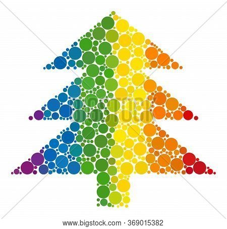Fir Tree Mosaic Icon Of Circle Spots In Different Sizes And Rainbow Color Shades. A Dotted Lgbt-colo