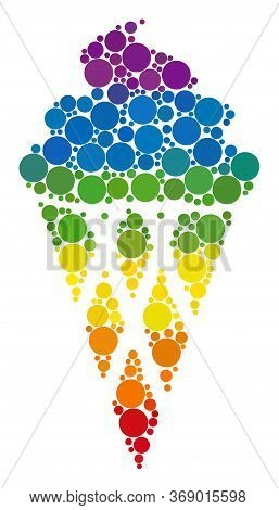 Icecream Collage Icon Of Filled Circles In Various Sizes And Rainbow Colored Shades. A Dotted Lgbt-c