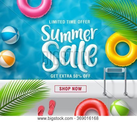 Summer Sale Vector Banner Design. Summer Sale Promotional Discount Text With Colorful Summer Floatin