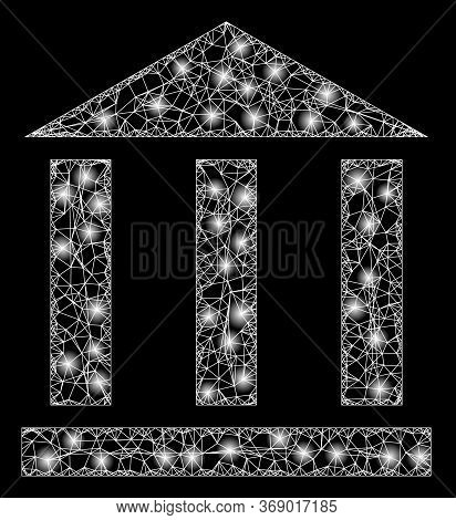 Glare Web Net Library Building With Glowing Spots. Illuminated Vector 2d Constellation Created From
