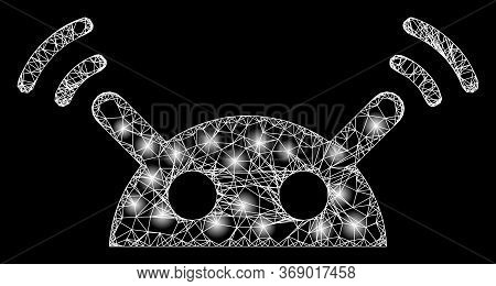 Glowing Web Mesh Robot Radio Signal With Glowing Spots. Illuminated Vector 2d Model Created From Rob