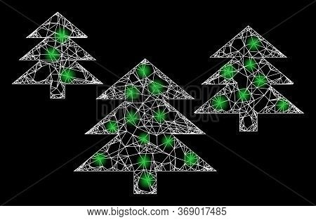 Glare Web Network Fir Tree Forest With Light Spots. Illuminated Vector 2d Constellation Created From