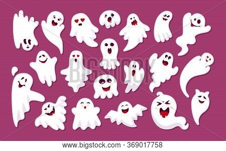 Ghost Colored Sticker With Shadow Flat Cartoon Set. Halloween Collection Cute Scary Stickers Monster