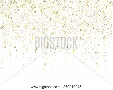 Gold Flying Musical Notes Isolated On White Background. Glossy Musical Notation Symphony Signs, Note