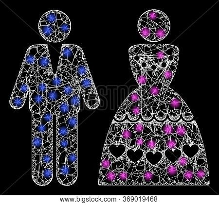 Shiny Web Mesh Marriage Couple With Light Spots. Illuminated Vector 2d Constellation Created From Ma