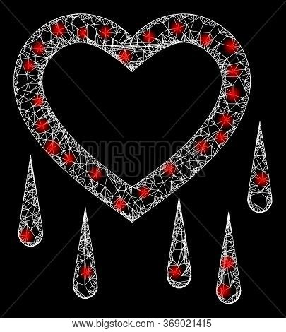 Bright Web Net Crying Heart With Light Spots. Illuminated Vector 2d Model Created From Crying Heart