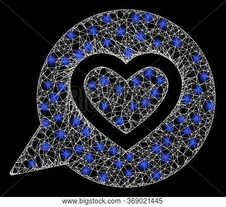 Glare Web Mesh Favourite Heart Message With Lightspots. Illuminated Vector 2d Model Created From Fav