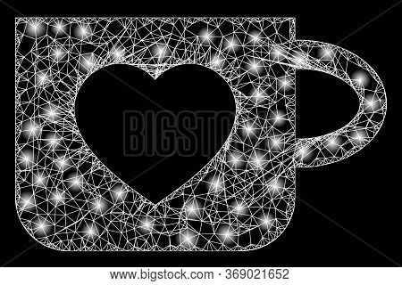Bright Web Mesh Favourite Cup With Glowing Spots. Illuminated Vector 2d Model Created From Favourite