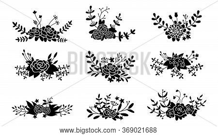 Floral Composition Set, Flower Branch Black Glyph. Abstract Wedding Beautiful Floral Design Elements
