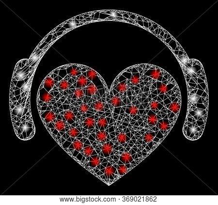 Bright Web Mesh Love Heart Headphones With Light Spots. Illuminated Vector 2d Model Created From Lov