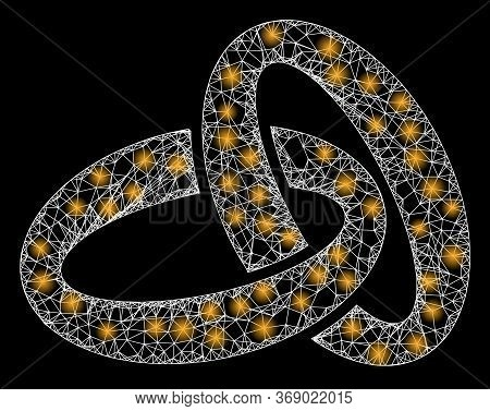 Glowing Web Network Gold Rings With Glowing Spots. Illuminated Vector 2d Model Created From Gold Rin