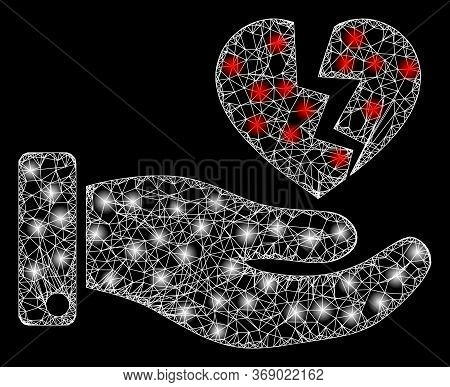 Glowing Web Network Hand Offer Broken Heart With Glowing Spots. Illuminated Vector 2d Constellation