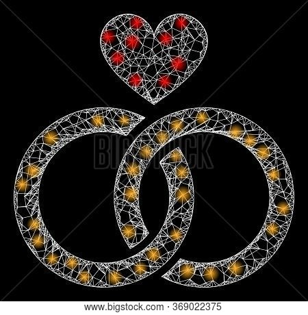 Glowing Web Network Romantic Rings With Glowing Spots. Illuminated Vector 2d Constellation Created F