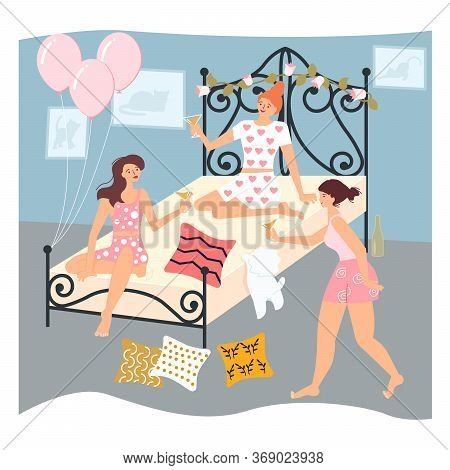 Beautiful Women Friends Have A Slumber Party. Cozy Bedroom Interior And Gerls Fun Evening. Flat Art