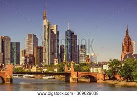 Frankfurt,germany - May 16,2020:untermainbruecke This Is The View To The Centre Of The City,where Ar