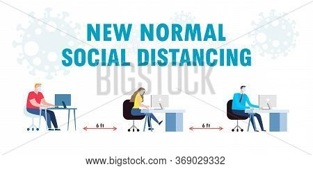 Social Distancing Concept Of Teamwork Of Business Office People Maintain New Normal Lifestyle At Job