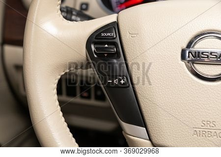 Novosibirsk/ Russia - April 11, 2020:  Nissan Teana, Car Controller On Steerling Wheel ,music,contro