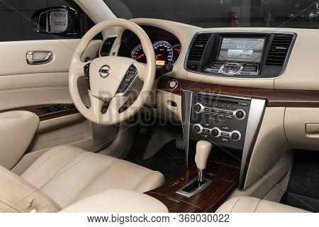 Novosibirsk/ Russia - April 11, 2020:  Nissan Teana, Steering Wheel, Shift Lever And Dashboard, Clim