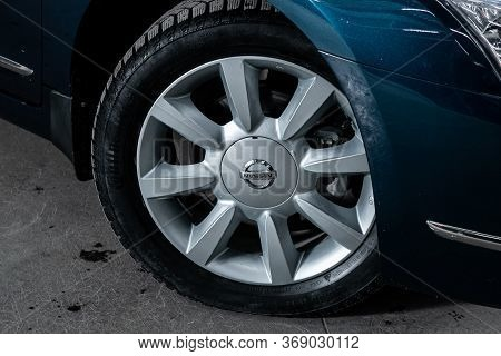 Novosibirsk/ Russia - April 11, 2020:  Nissan Teana, Car Wheel With Alloy Wheel And New Rubber On A