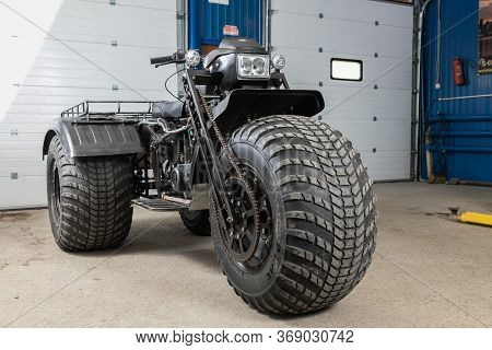 Novosibirsk/ Russia - May 12, 2020, Black Homemade Swamp Buggy, Front View,  For Off-road Driving In