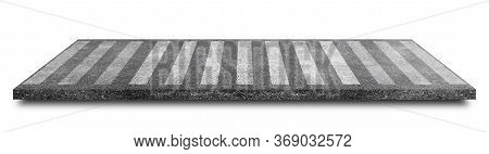 Side View Of White Pedestrian Crosswalk Or Zebra Crossing On Asphalt Road Isolated On White Backgrou