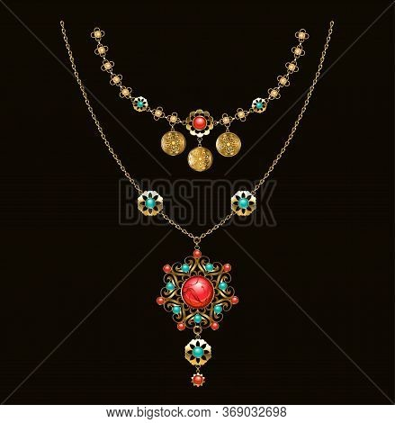 Gold Patterned Medallion With Turquoise, Carnelian And Jasper, On Long Brass Chain On Dark Backgroun
