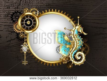 Antique, Round Banner With Mechanical Seahorse, Antique Watch With Black Dial And Brass Gears On Bro