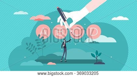 Test Prep Or Exam Preparation Vector Illustration In Flat Tiny Persons Concept. Educational Course,