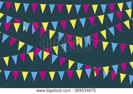Background Image Of Flags. Holiday Background In The Form Of Garlands. Stock Photo.