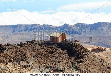 Volcano Mount Teide Cable Car Upper Station Building And Mountain Panorama On Canary Island Tenerife