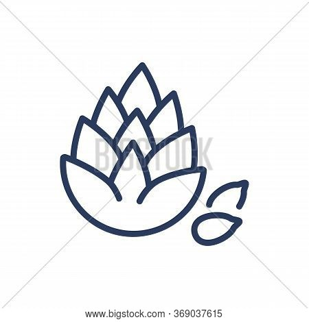 Pine Nut Thin Line Icon. Cedar, Cone, Seeds, Healthy Nutrition Isolated Outline Sign. Natural Ingred