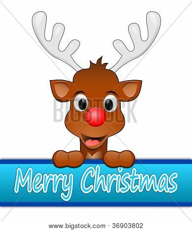 Reindeer with red nose wishing Merry Christmas poster