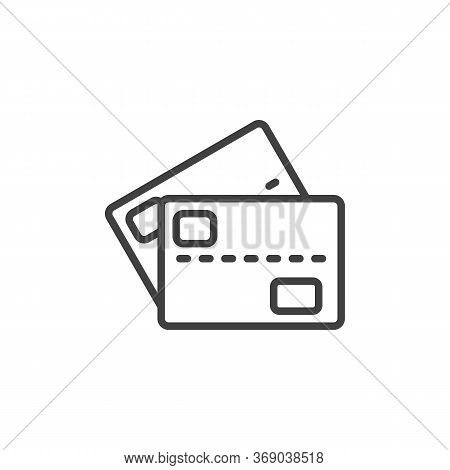Two Credit Cards Line Icon. Linear Style Sign For Mobile Concept And Web Design. 2 Bank Cards Outlin