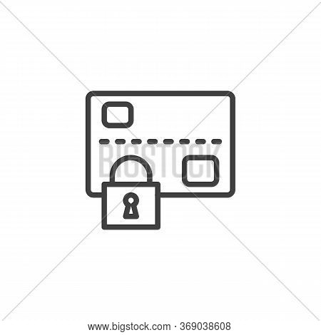 Secure Payment Line Icon. Linear Style Sign For Mobile Concept And Web Design. Credit Card And Padlo