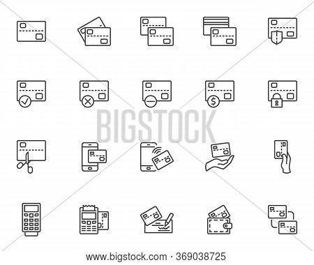Credit Card Line Icons Set. Banking Linear Style Symbols Collection, Outline Signs Pack. Vector Grap