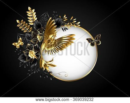Round Banner With Jewelry, Golden Hummingbird On Gray Background, Decorated With Jewelry Orchids Wit
