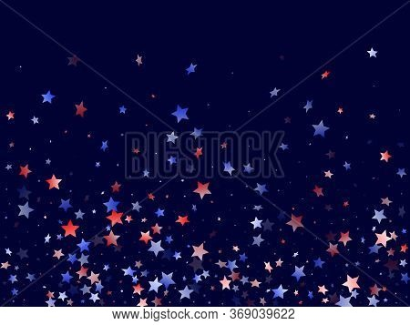 American Patriot Day Stars Background. Holiday Confetti In Usa Flag Colors For Presidents Day.  Fest
