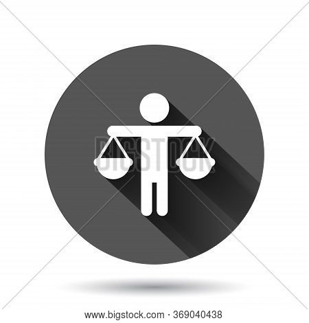 Ethic Balance Icon In Flat Style. Honesty Vector Illustration On Black Round Background With Long Sh